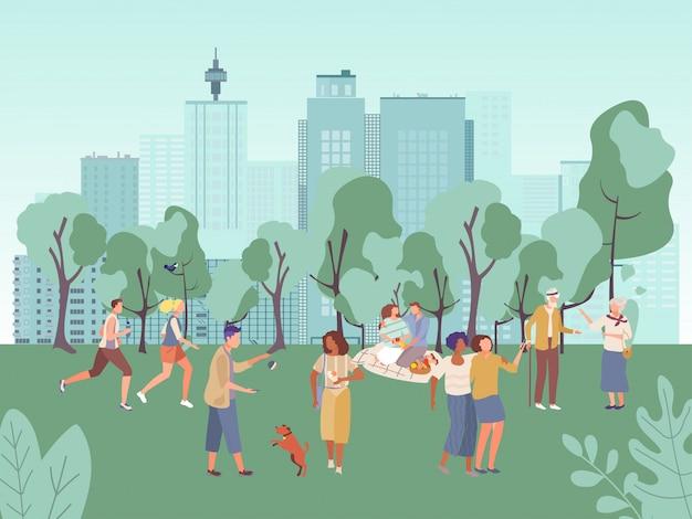 La gente en la ilustración del parque de la ciudad, los personajes de dibujos animados hombre mujer plana se divierten en picnic, caminar o correr en una actividad deportiva saludable