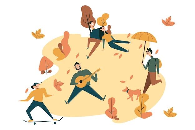 Gente en la ilustración del parque otoño