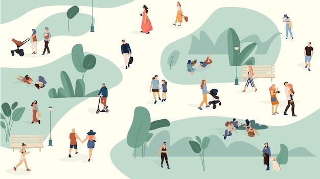 Gente en la ilustración del parque