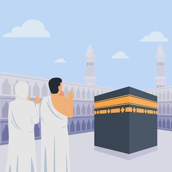 Gente en la ilustración de peregrinación hajj vector gratuito