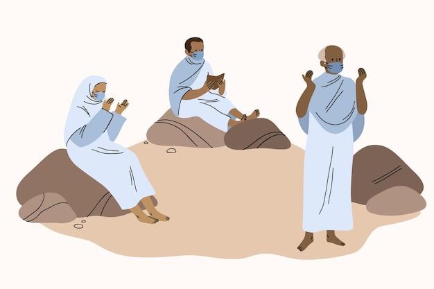Gente en la ilustración de peregrinación hajj