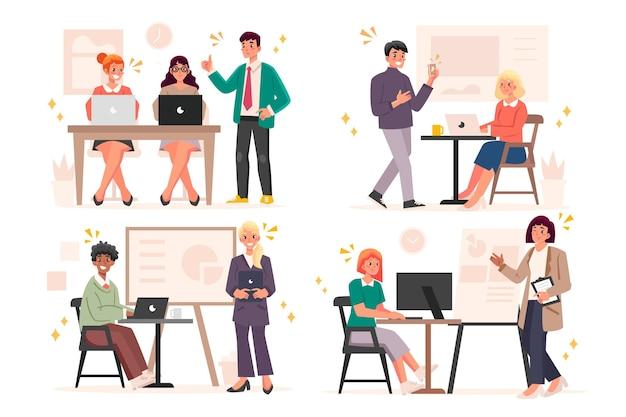 Gente de ilustración plana en formación empresarial