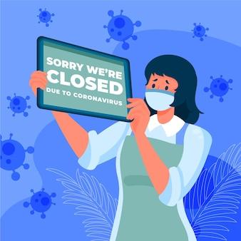 Gente de ilustración plana orgánica colgando un letrero cerrado