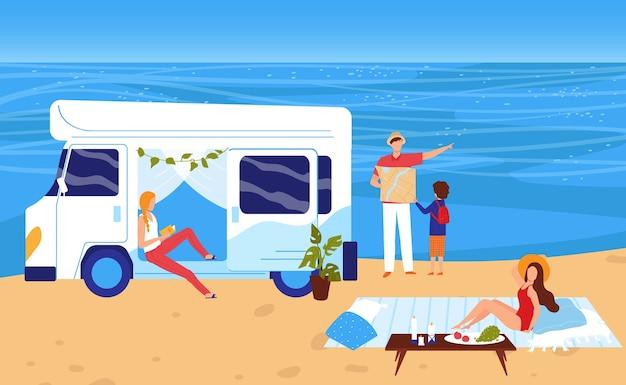 Gente en la ilustración de vacaciones de camping de playa de mar de verano.