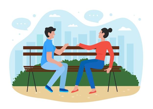 Gente en la ilustración de vector plano del parque, dibujos animados felices jóvenes amigos o personajes de pareja sentados en un banco en el parque de verano de la ciudad en cita romántica o reunión amistosa