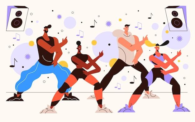 Gente ilustrada practicando baile fitness en clase.