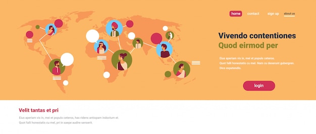 Gente india avatar mapa del mundo burbujas de chat comunicación global trabajo en equipo