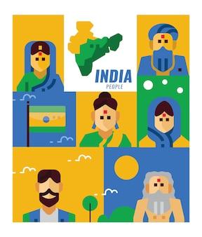 Gente de la india. cartel plano y elementos de banner.