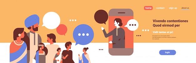 Gente india chat burbujas aplicación móvil comunicación discurso diálogo