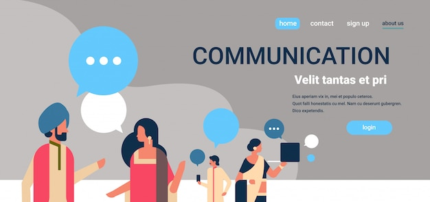 Gente india chat burbujas comunicación banner