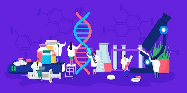 Gente innovadora del laboratorio de ciencias, personaje de dibujos animados pequeño médico científico haciendo análisis en laboratorio médico