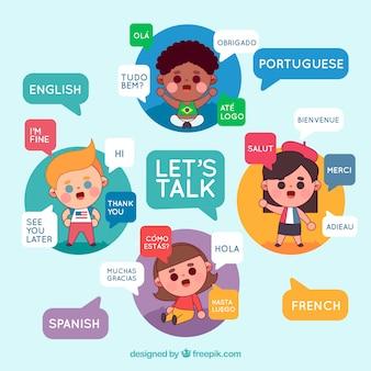 Gente internacional hablano idiomas diferentes