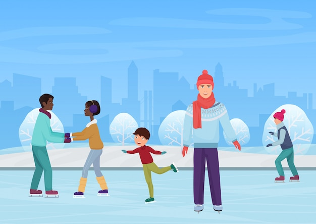 Gente de invierno patinando en una pista al aire libre.