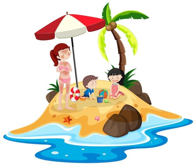 Gente en la isla de vacaciones