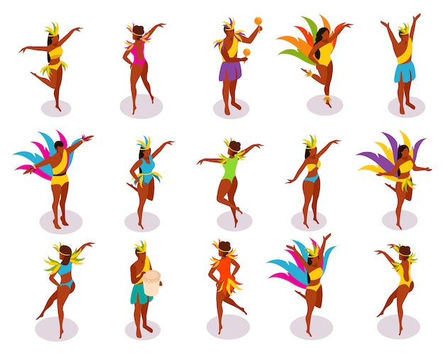 Gente isométrica del carnaval brasileño en trajes coloridos con plumas e instrumentos musicales durante el baile