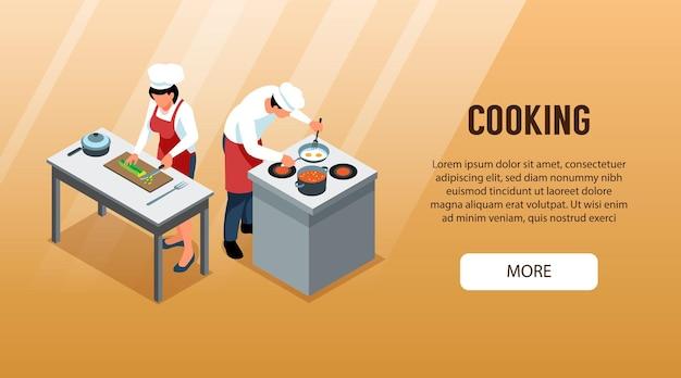 Gente isométrica cocinando banner web