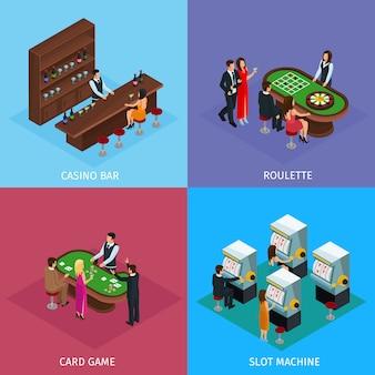 Gente isométrica en concepto de plaza casino