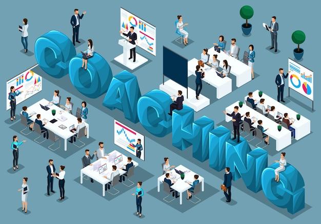 Gente isométrica de dibujos animados, empresarios, concepto de capacitación del personal, entrenador a pedido enseña, personal en la conferencia, gran ilustración de entrenamiento de palabras