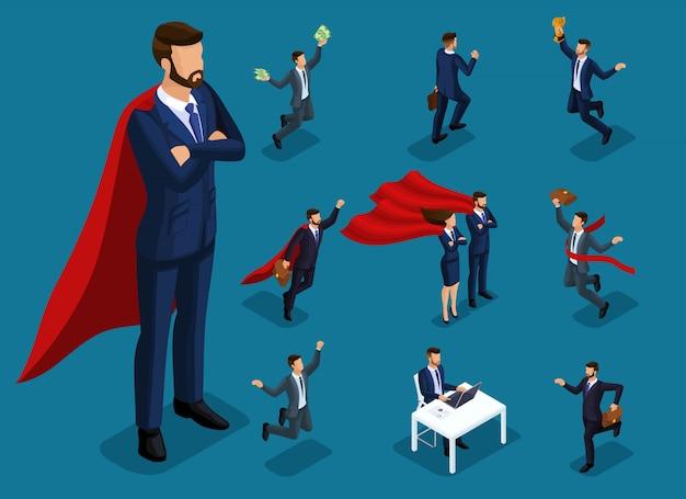 Gente isométrica de dibujos animados, empresarios y superhombres en diferentes situaciones, hombre grande y mini concepto con él para ilustraciones