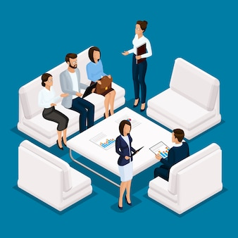 Gente isométrica, empresario mujer de negocios 3d. personal de oficina de muebles, sofás, escritorio, discusión, lluvia de ideas sobre un fondo azul.