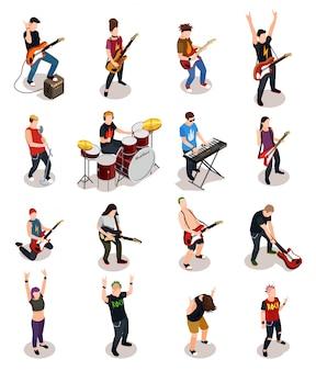 Gente isométrica de estrellas de rock
