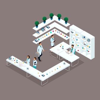 Gente isométrica de moda, científicos de laboratorio, profesionales médicos, investigación, experimentos, análisis, trabajadores de laboratorio.