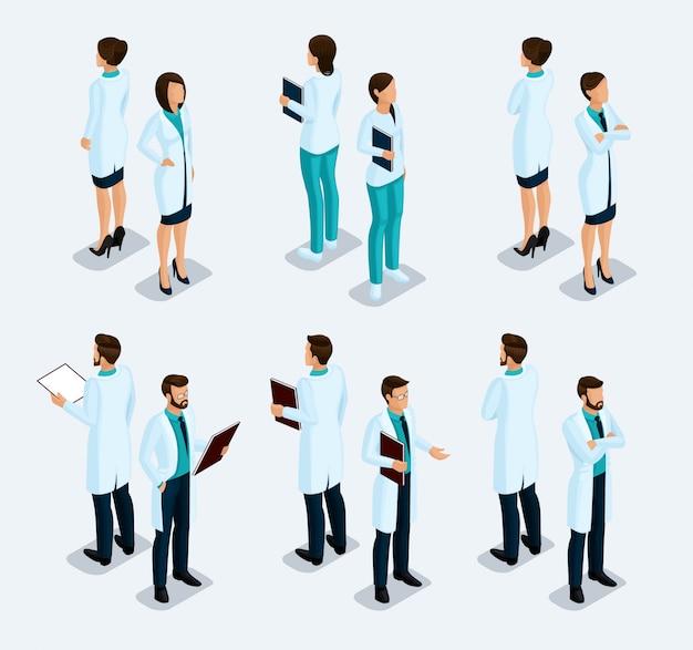 Gente isométrica de moda. personal médico, hospital, médico, enfermero, cirujano.