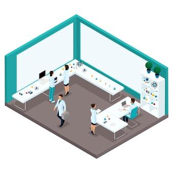 Gente isométrica de moda, una vista posterior del gabinete de un laboratorio, científicos, proveedores de atención médica, investigación, experimentos, análisis, trabajadores de laboratorio.