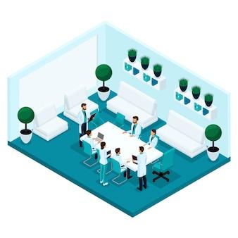 Gente isométrica de moda, vista posterior de la habitación de un hospital, consultorio médico, personal, personal del hospital, cirujanos y médicos, konsillium