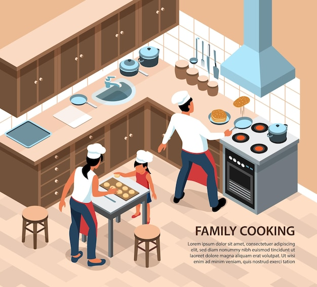 Gente isométrica que cocina la composición de la ilustración con texto editable y un paisaje de cocina en casa con personajes de miembros de la familia