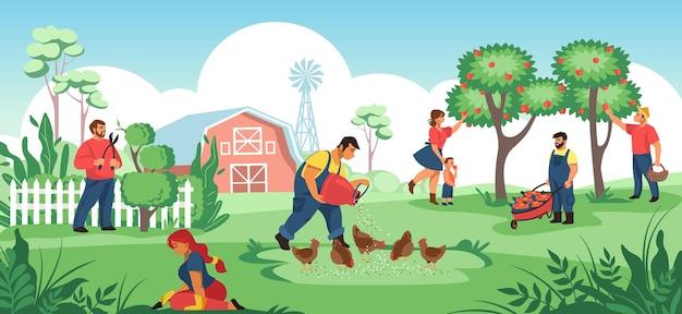 Gente en el jardín. los agricultores y jardineros de dibujos animados que trabajan juntos, plantan cultivos y flores, trabajan en el suelo. trabajadores agrícolas de ilustración vectorial que cultivan alimentos orgánicos, mujeres y niños cerca del árbol