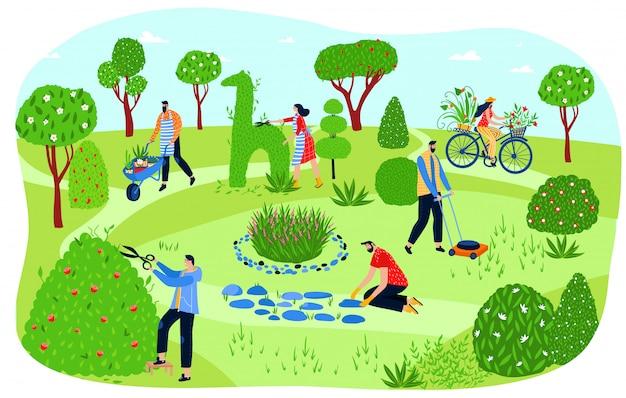 Gente de jardinería en el parque, hombres y mujeres plantando vegetación y cortando arbustos, ilustración