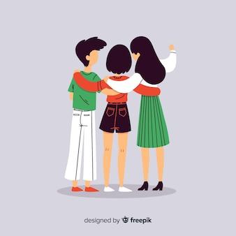 Gente joven abrazándose junta en diseño plano