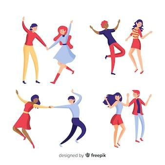 Gente joven bailando dibujada a mano