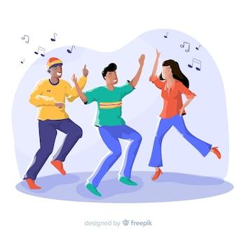 Gente joven bailando. diseño de personajes