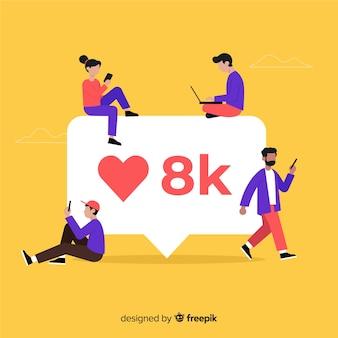Gente joven buscando likes en las redes sociales