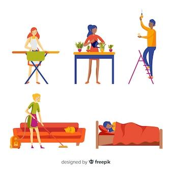 Gente joven en casa dibujada a mano