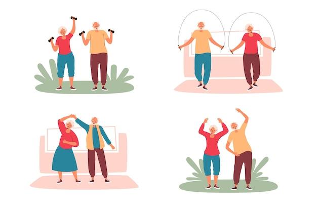 Gente joven de corazón haciendo deporte al aire libre