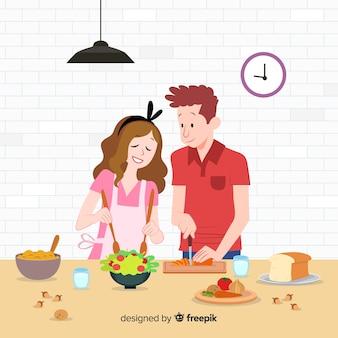 Gente joven dibujada a mano cocinando