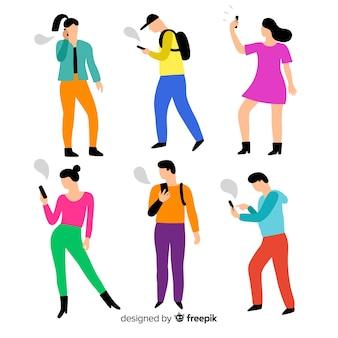 Gente joven dibujada a mano con smartphones