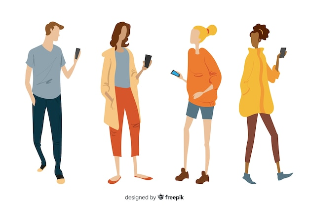 Gente joven dibujada a mano sosteniendo móviles