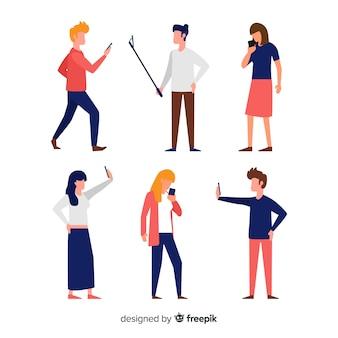 Gente joven dibujada a mano sujetando smartphones