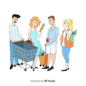 Gente joven dibujada a mano en el supermercado