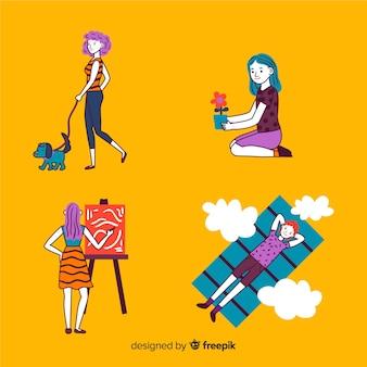Gente joven dibujadas a mano haciendo actividades al aire libre