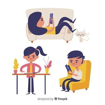 Gente joven haciendo actividades en casa. diseño de personaje