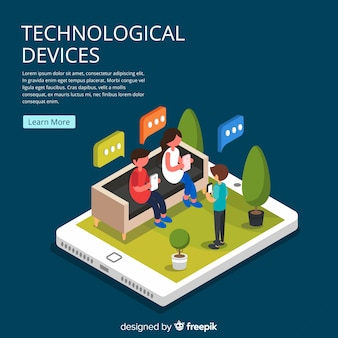 Gente joven isométrica usando dispositivos tecnológicos