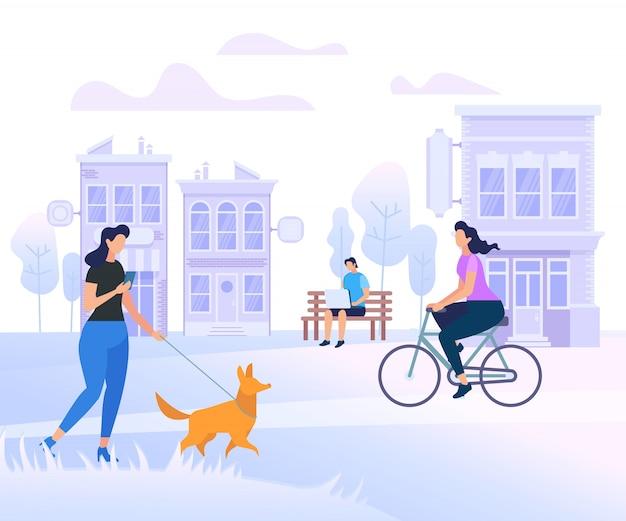 Gente joven personajes caminando en la ciudad
