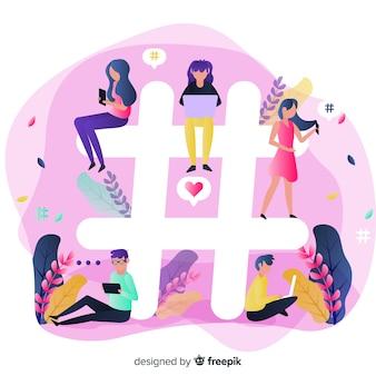 Gente joven sentada en símbolo de hashtag o almohadilla