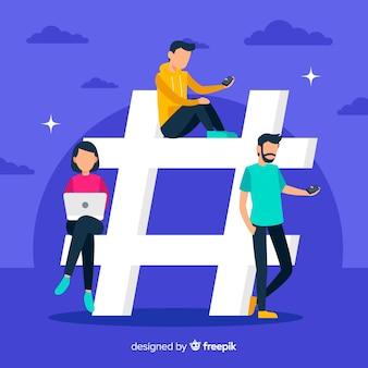 Gente joven con símbolo hashtag