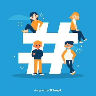 Gente joven con el símbolo de hashtag